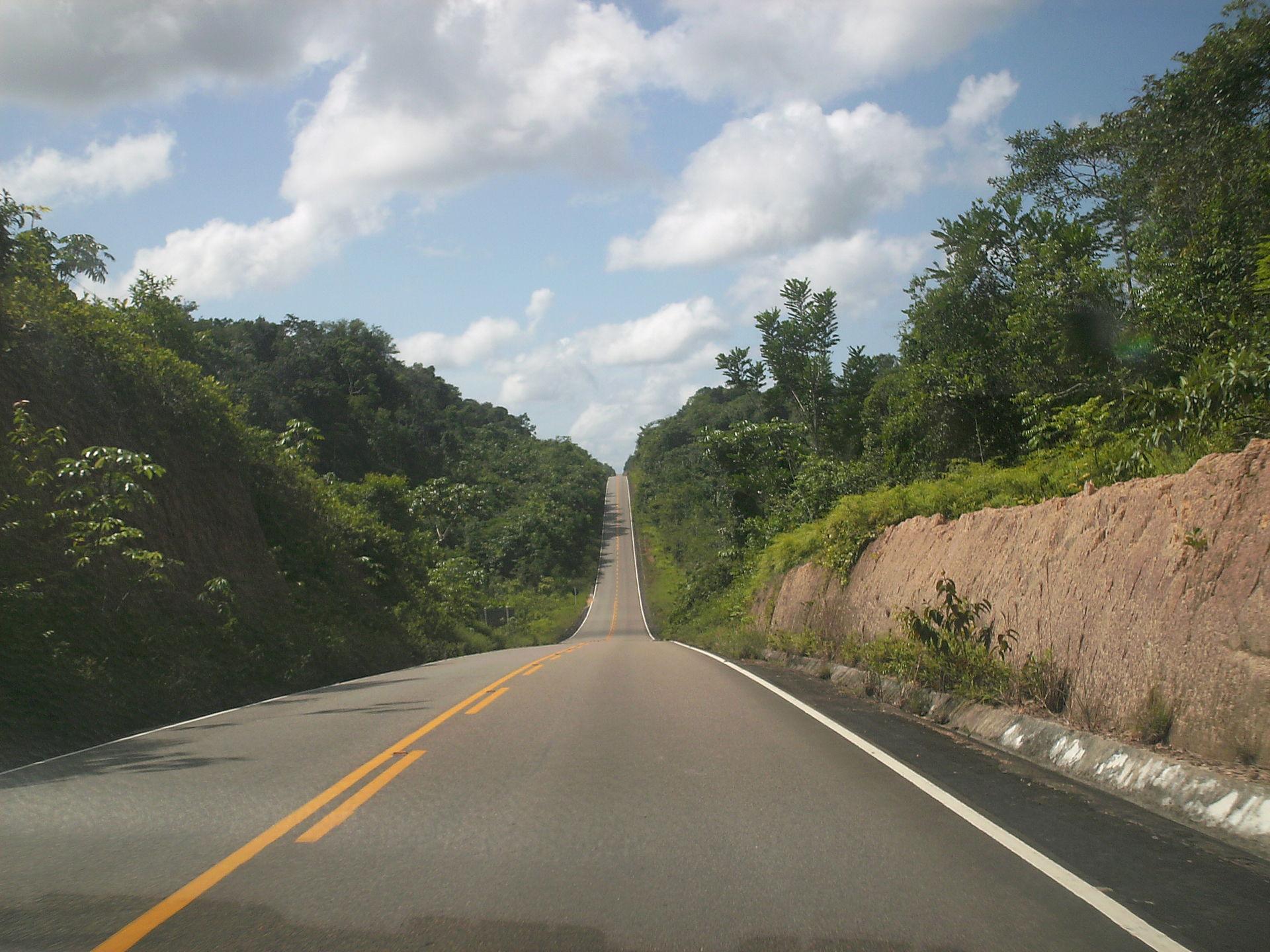 A road cuts through the Waimiri-Atroari Reserve in Roraima, Brazil. (Wikimedia Commons)