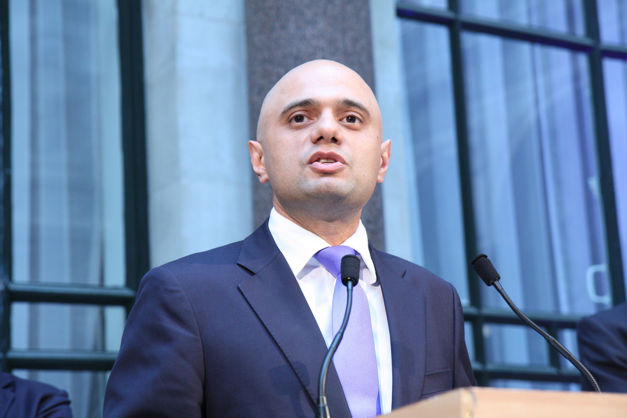 Home Secretary Sajid Javid speaking at an event in 2014, when he was Secretary of State for Culture, Media and Sport  [Wikimedia Commons].
