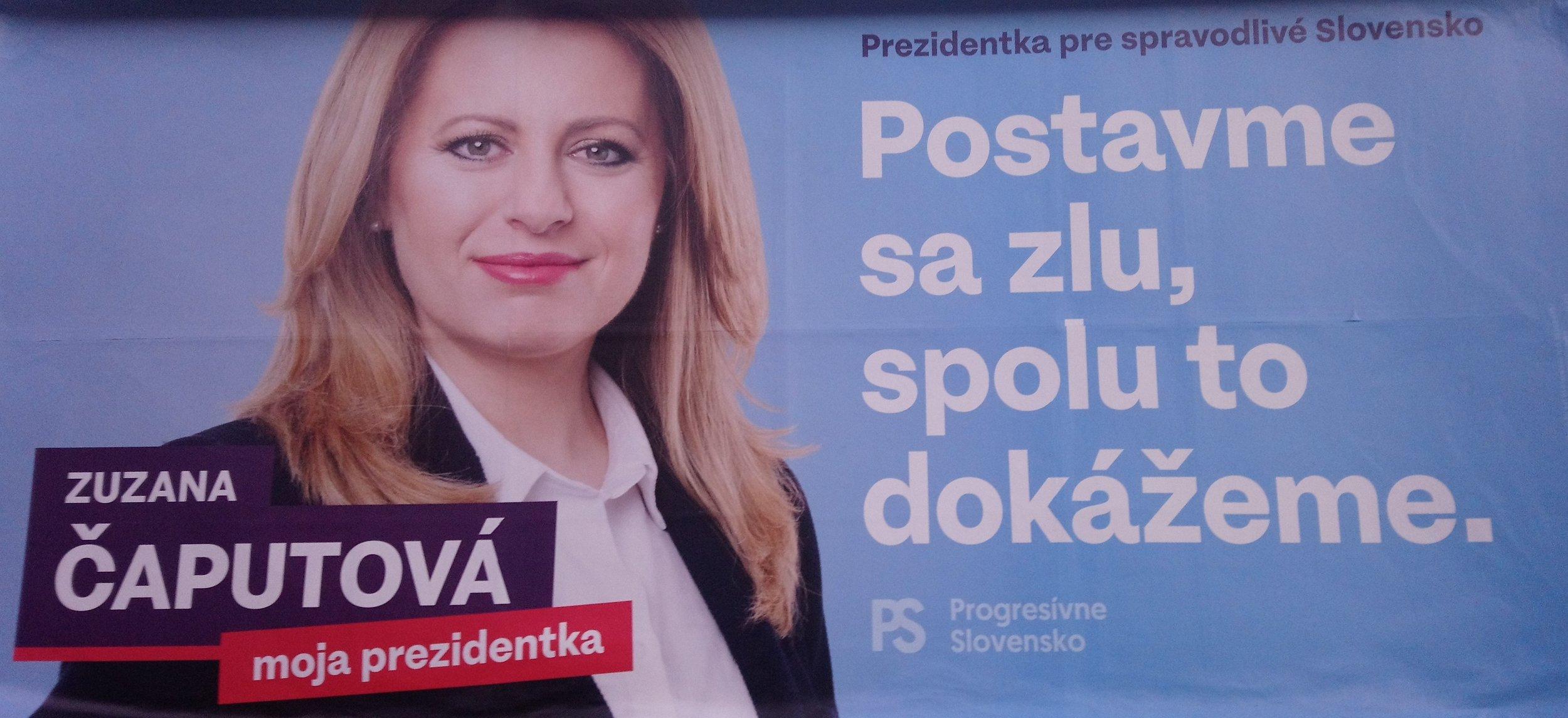 An election billboard for recently elected Slovak President Zuzana Caputova. (Wikimedia)