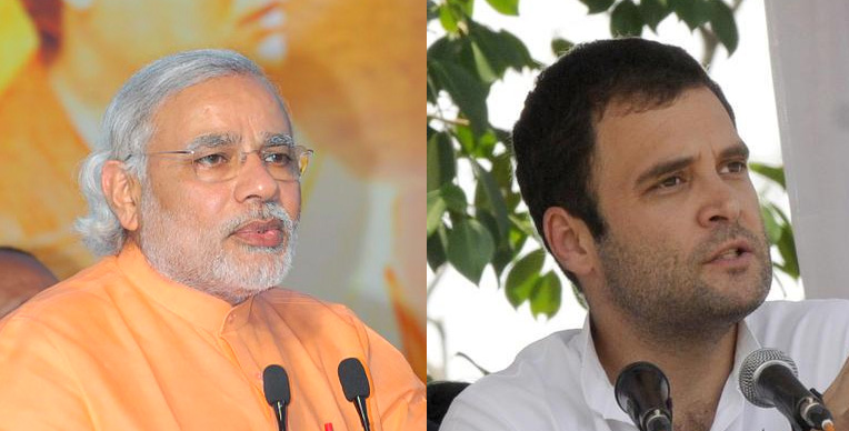 Prime Minister Narendra Modi's (left) Bharatiya Janata Party and Rahul Gandhi's (right) Indian National Congress compete for seats in the 2019 Indian general election. (Wikimedia Commons)