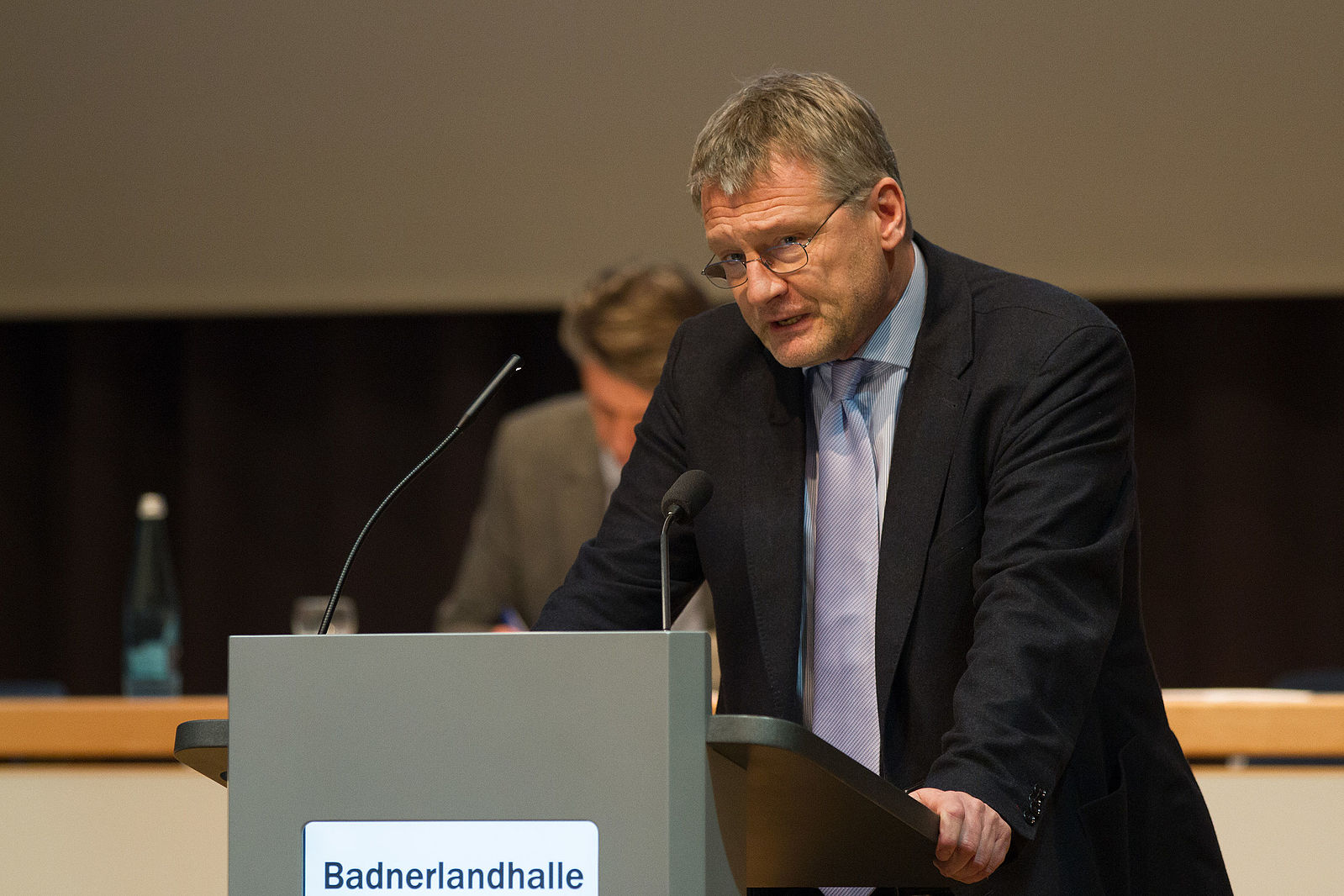 AfD leader Jörg Meuthen at AfD Baden-Württemberg party convention in 2015 [Wikimedia Commons].