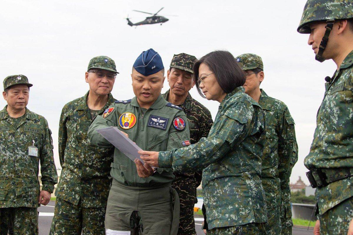 President Tsai Ing-wen reviews military exercises in May 2019. During air-raid drills, all citizens seek shelter and the roads empty of all traffic for half an hour. (South China Morning Post)