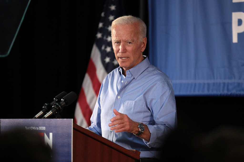 Former Vice President Joe Biden speaking with supporters at a community event in Marshalltown, Iowa on July 4, 2019. (Flickr)