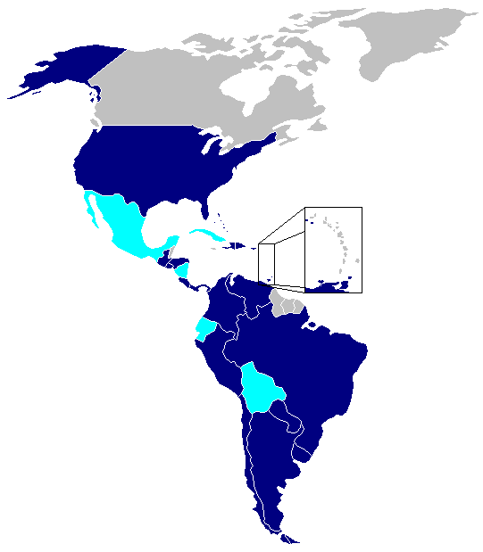 A map, created prior to Uruguay's withdrawal, showing the member states of the Rio Treaty in dark blue and states that have previously withdrawn from the Rio Treaty in light blue