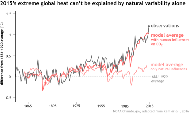 A chart shows how human-caused CO2 emissions led to the then-hottest year in recorded history in 2015. (National Oceanic and Atmospheric Administration)