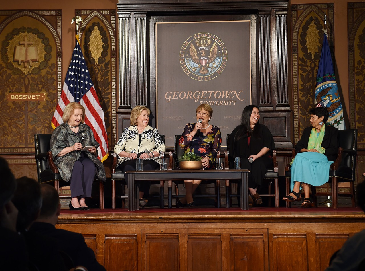 Ambassador Melanne Verveer (left), former-Secretary of State Hillary Clinton, United Nations High Commissioner for Human Rights Michelle Bachelet, Rosa Anaya, and Marta Velásquez address the audience in Gaston Hall on September 27. (Georgetown Institute for Women, Peace, and Security)