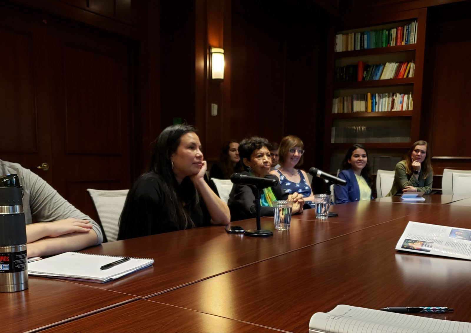 Hillary Rodham Clinton Award recipients Rosa Anaya and Marta Velásquez speak with Georgetown students during a roundtable discussion at the Center for Contemporary Arab Studies on September 27. (Eduardo Torres, SFS '23)