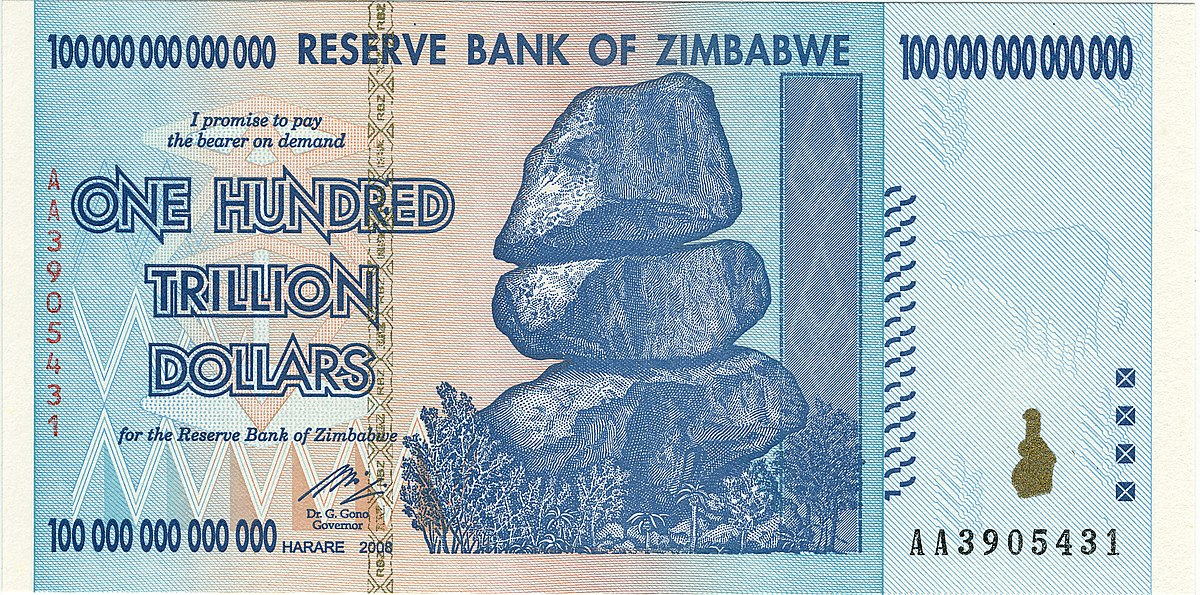The $100 trillion bill is an example of the massive denominations of Zimbabwean currency that were required to buy everyday goods during the last major inflationary period. (Wikimedia Commons)