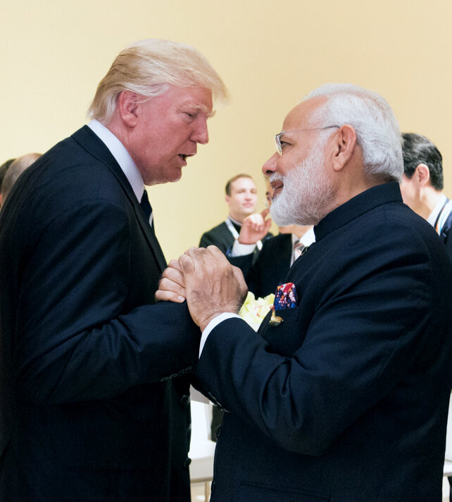 """Indian Prime Minister Narendra Modi and President Donald Trump both gave speeches at the """"Howdy, Modi"""" rally. (Wikimedia Commons)"""