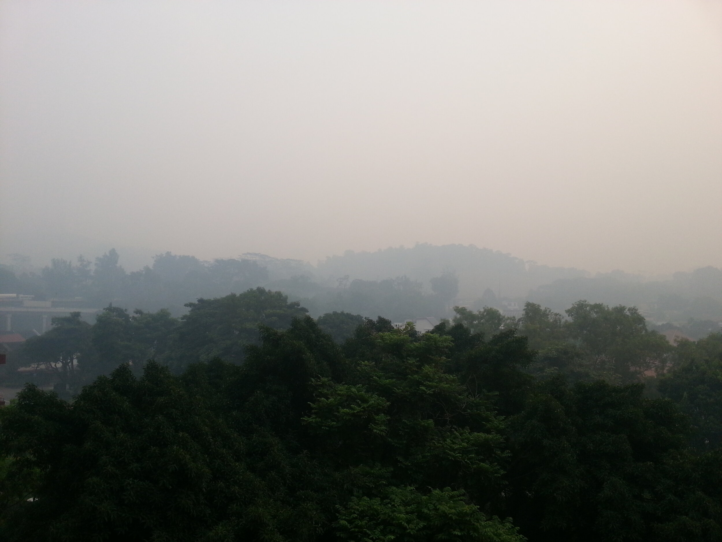 Severe haze from forest fires blankets Singapore, Malaysia, Indonesia, and other Southeast Asian countries nearly annually. (Wikimedia Commons)