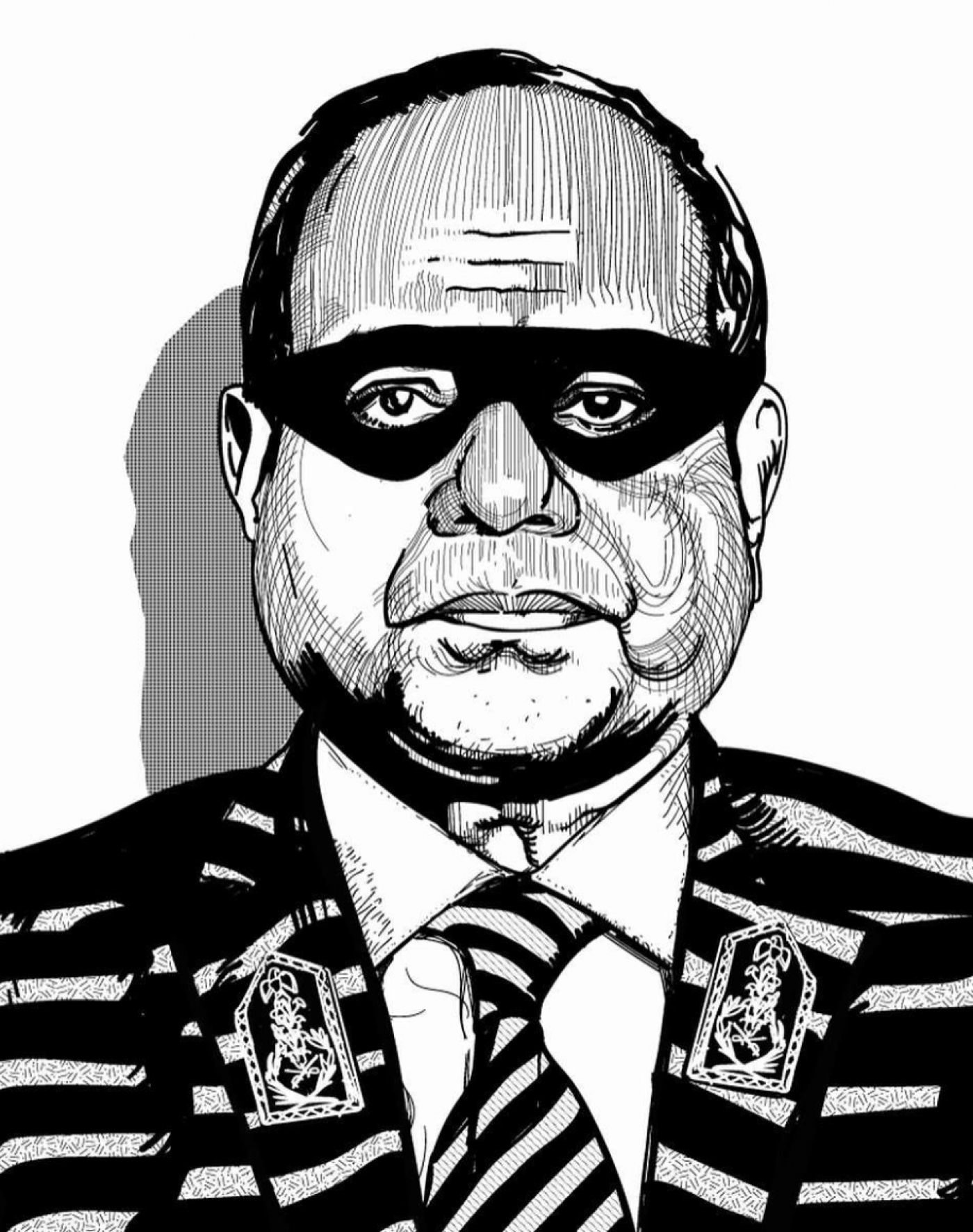 Egyptian artist Ganzeer's (@ganzeer) rendition of El-Sisi presented as a burglar, which has become a popular sign held by protestors. (Wikimedia Commons)