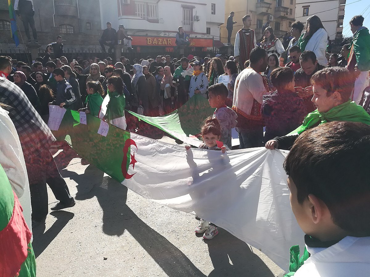Algerian people protest in the streets of Béjaïa, Algeria. (Wikimedia Commons)