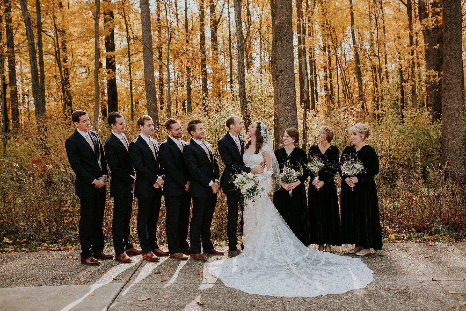Bridal Party Surrounded by Fall Foliage
