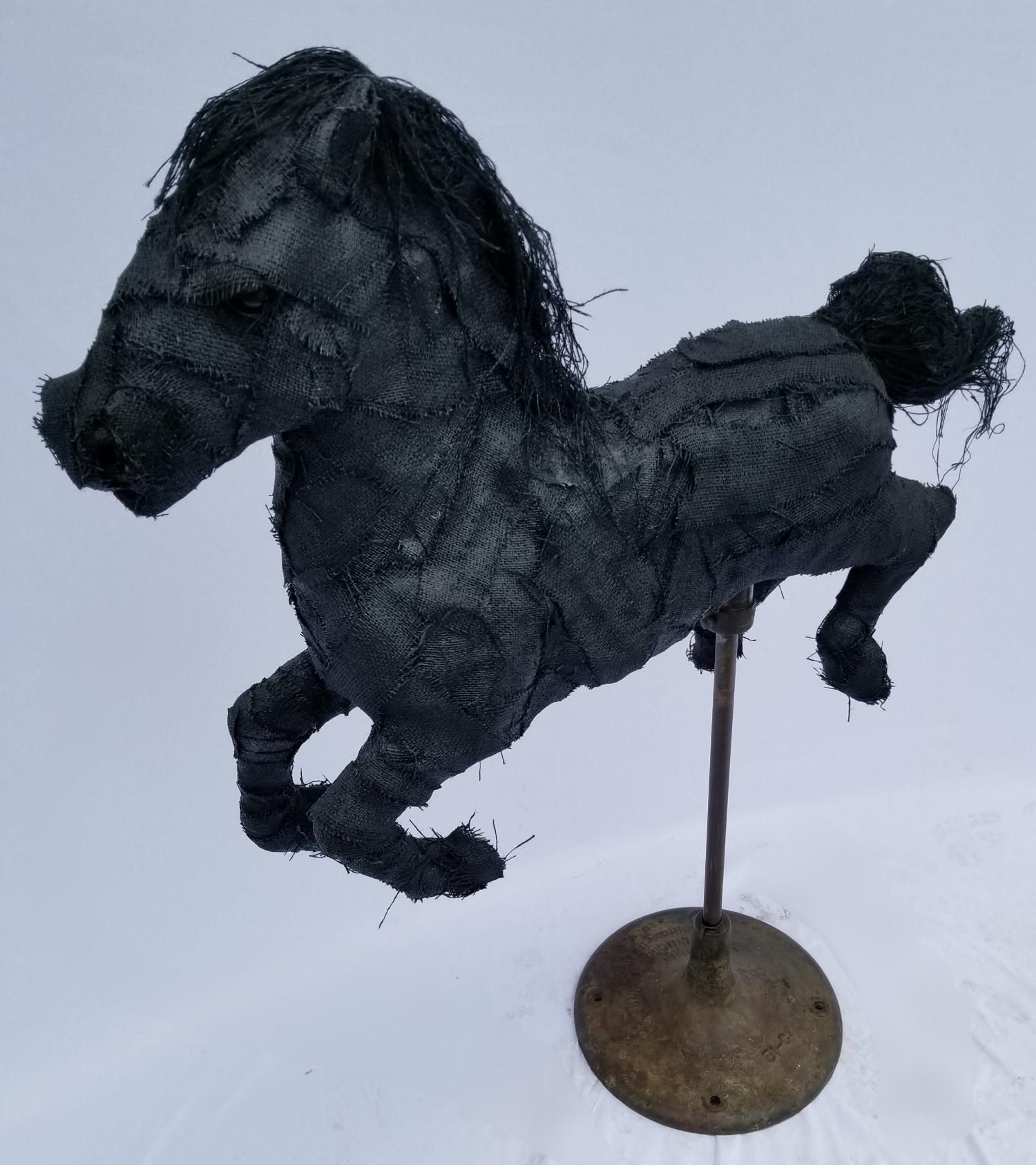 Black Burlap Horse
