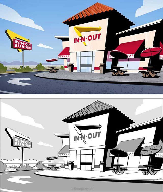 Okay, so, In 'N' Out animated brand deal - when? Every time I post some vis-dev, at least one person goes to In 'N' Out. (Never mind that it's usually me... listen: the details aren't important!) Let's just make this happen!! Ha ha, just kidding... or am I!? #innout #burger #hamburger #fastfood #cali #socal #westcoast #ca #calilfornia #backgrounddesign #backgroundpainting #background #stylized #animationstyle #animation #cartoon #visdev #visualdevelopment #conceptart #illustration #concept #sketch #instaart #doodle #digitalart #digital #allisonperry #allisonperryart @innout