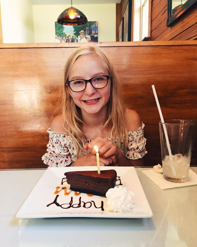 Spent yesterday celebrating this beautiful young lady. Shrimp n' Grits + chocolate cheesecake @thechelsearestaurant 🍤🍰👌then some spontaneous street art and a visit to Bank of the Arts Gallery. Then back to the campsite to grill wild tuna steaks and eat birthday cake. My how these past 12 years have flown! ❤️ #izzyannie