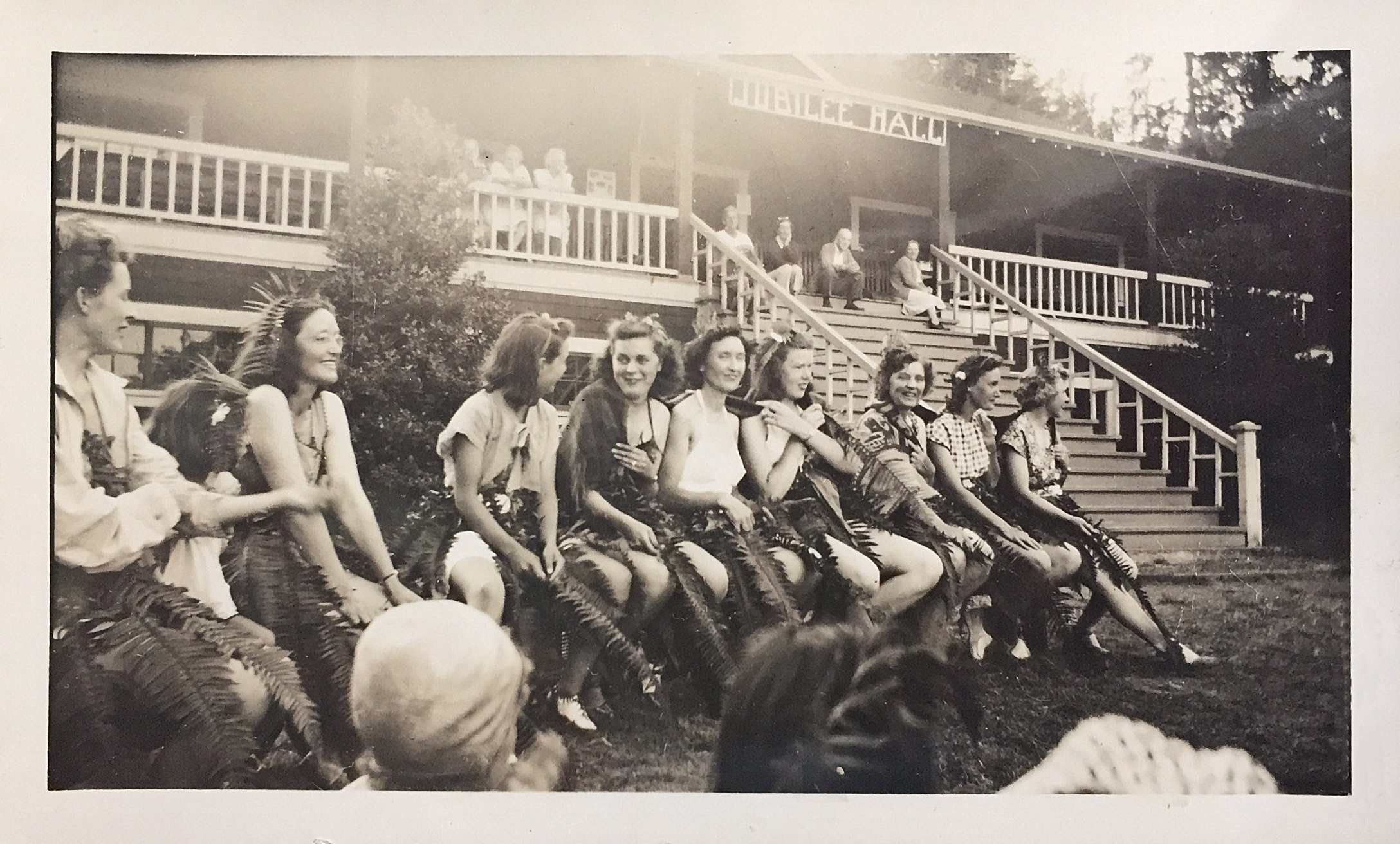 Pictured: Girls at in front of Jubilee Hall at Camp Fircom in the late 1940s. Courtesy of Lorraine Elliott.