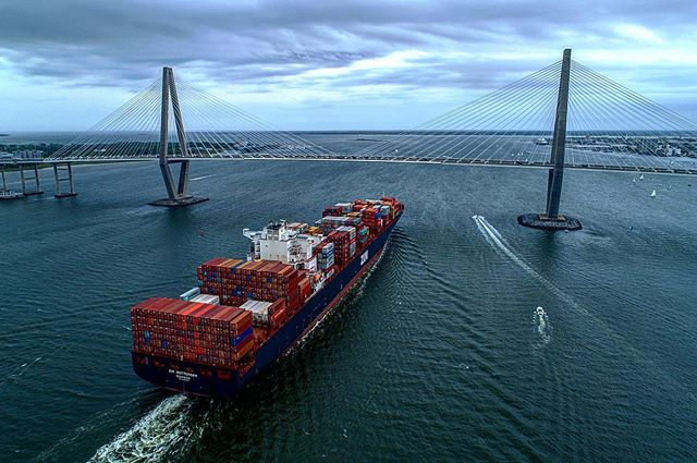 We didn't win the right of way with this Cargo Ship! Thanks @_samgreenfield_ for this awesome shot of us next to this giant. #giveback #veterans #chs #militaryappreciation #warriorsailingprogram #saltwaterfishing #charleston #veterans #adaptivesports #tidalflowcoalition #fishing #offshorefishing #santacruzyachts #getoutside  #chstoday #hatsoff4heroes #watertherapy #stjohnsyachtharbor @stjohnsyachtharbor #rossmarine @rossmarinesc @jadevitt @scottharrisonvbc @carsongeib