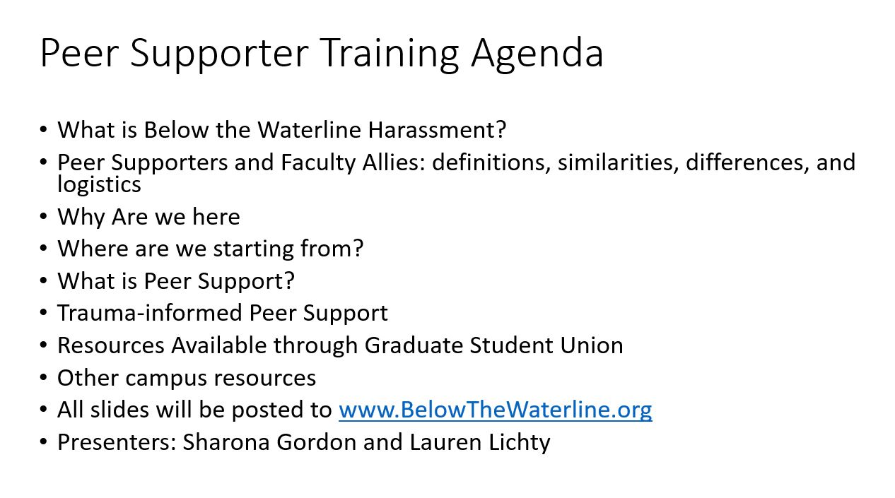 Click  HERE  to download the powerpoint presentation used in our most recent Peer Supporter training.