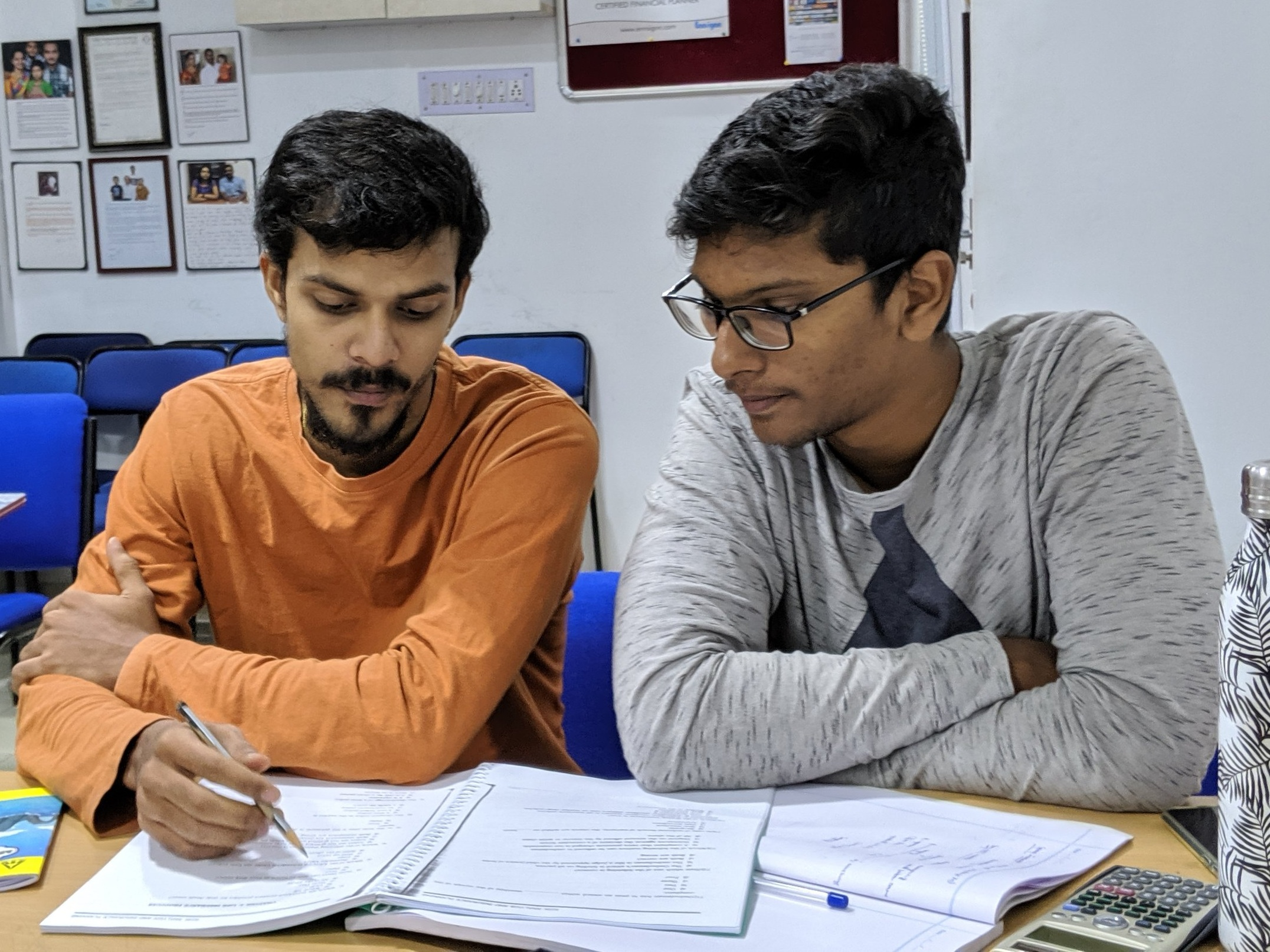 Study groups - We encourage our students to come in to study even when classes are not in session. Students learn and support each other. Also since faculty are always present, this gives students plenty of opportunity to clear doubts as and when they come up.