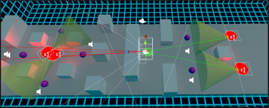 Behind the scenes: Level 4 design, showing AI line of sight and waypoints.