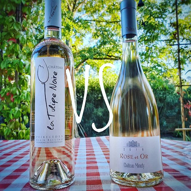 Provence Rosé showdown! Chateau Peirecedes La Tulipe Noire 2018 vs Chateau Minuty Rose Et Or 2018 👁 V similar, pale peach robe 👃 La tulipe a bit more pronounced with minerality, melon, slate and chalk. Rose et Or is more subtle, flint, white flowers and peach 👅 La tulipe is orange and melon, with a strong acidity and a chalky/slate follow-through with some lime zest on the finish. Rose et Or is melon, lychee, grapefruit, lemon and a bit of green apple. 🤔 Too close to call! Both wines are amazing. Light, fresh, delicate and very elegant! Super easy to drink and real Provence beauties. Both great producers with amazing stories. I ❤ them both! If forced to make a decision I would say La Tulipe will perform better with food and Rose et Or is better for aperitif.