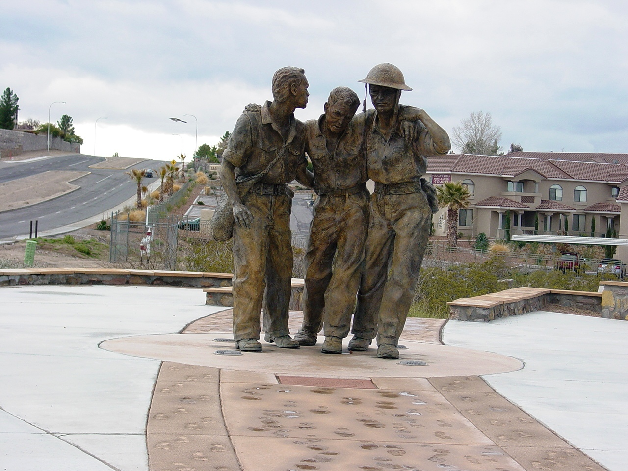 Statue of Bataan Death March walkers, located at Veterans Memorial Park, Las Cruces, NM.
