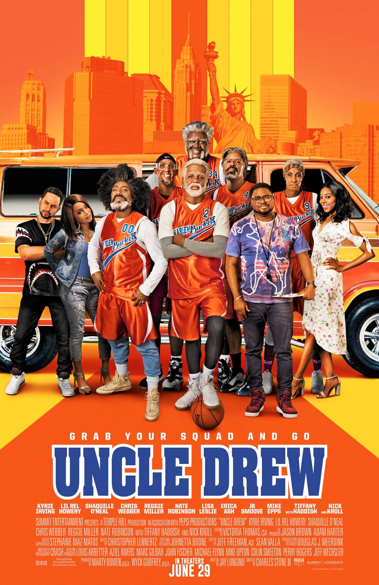 Uncle Drew - by Kathia WoodsUncle Drew is a delightful comedy starring comedian LiL Rel. The story revolves around Rel's character Dax who gambled everything to formulate a winning basketball team for the Rucker. The league is supposed to help him eliminate a middle school mishap however before Dax gets an opportunity to redeem himself his star player is enticed away by Mookie the middle school rival. Dax girlfriend Jess played by Tiffany Haddish sends him backing when she discovers his misfortune. Soon young Dax finds himself without a team, home and girlfriend. He visits the barber shop where he's made aware of Uncle Drew. The most significant play court player in history. So what does he do he do? He looks for this Uncle Drew who ends up finding him. There is only one small matter Uncle Drew is a lot older a lot older. Seeming like a hopeless situation he accompanies him on a road trip.Dax and Drew hit the highway to put the old team together. Uncle Drew played by Kyrie Irving is delightful. He's a combination of 70's blackness, ladies' man, and guru. The makeup job at times was a little challenging, but the comedy was on point. Rounding out the Senior Basketball crew are Reggie Miller as Lights, Chris Webber as Preach, Nate Robinson as Boots, and Shaquille O'Neal as none other than Big Fella. Lisa Leslie is Preach's wife Petty Lou, and Erica Ash as Dax's love interest Maya and Boots Granddaughter. Parts of this movie are predictable, but you're not watching this movie for deep thought. It's a fun escape about misfits. These Misfits are playing for redemption especially Dax who gets to put behind him that terrible middle school disaster. It's about Friendship and second chances. So if you're looking for a comedy with a little feel-good coating Uncle Drew is for you.