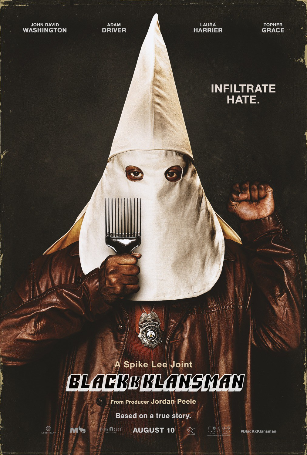 Review of Blackkklansman by Kathia Woods - Blackkklansman is the latest offering by acclaimed filmmaker Spike Lee. The movie is the story of how African-American police officer Ron Stallworth infiltrated the Ku Klux Klan. It all started when he read a recruitment ad in the paper and decided to call. The person on the other end had no idea that his latest recruit was black. This is where the story becomes interesting. Stallworth needs a white counterpart to help him pulls off this ruse. It comes in none other than Flip Zimmerman an undercover detective who also happens to be Jewish. Zimmerman portrayed by Adam Driver is responsible for characterizing the Stallworth who is very charismatically racist online to come to life in the real world. Complicating things further the person Stallworth built his radical repartee with was none other than David Duke. Duke is so impressed by his recruit that he decides to travel to Colorado for his initiation ceremony.Stallworth who finally has found his sense of purpose at the Colorado Police meets Patricia president of the Black Student Union. Patricia is political unapologetically black and anti-police. Let's recap by day Stallworth is pretending to be a white supremacist and at night he's part of the black power movement with Patricia. There are many current themes in this movie. Code-switching the ability to converse in proper English to be accepted by mainstream Americans and jive/ebonies the urban vernacular often used amongst people of color. The complicit behavior at times by white women to use the police department as their security force against black men as seen in the news recently. The spreading of revisionist history to justify racism visa vie to deny the holocaust or holding on to Confederate monuments that celebrated slavery. This movie may take place in the 70's, but the themes are very current. Spike has always been great by being in tune with the fabric of America. This movie works because although the events occ