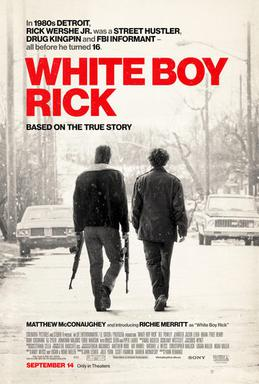 Review of White Boy Rick by Kathia Woods - There have been many movies made about the drug game. This movie is the story of Richard Wershe Jr. a young teenager living in Detroit in the 1980's. It chronicles his journey from police informant to drug dealer. The story is an intriguing one because traditionally these stories tend to center on African Americans.There are many aspects to Richard. He is at times very mature, others naive but mostly loyal to his family. The relationship between him and his father is a vital part of his story. Matthew McConaughey plays Richard Wershe Sr. It's their bond that is at the center of Rick's problems. Richard Sr selling of firearms is the ruse that is used to pull Rick into becoming an informant. Ritchie Merritt portrays young Richard Wershe Jr. He does an excellent job of embodying the Detroit accent. But what we needed is more backstory about him. Other than living near predominately black people what attracted him to the culture? Why was he so readily accepted? The movie did an excellent job of capturing the era. The landscape of Detroit was authentic. The director used the footage of the Hearns-Leonard fight intelligently.There is a story within a story in this movie, the justice system. Several things stood out. How do police officers/FBI agents rope a minor into becoming an informant without parental consent? It also demonstrated how the system is not an even playing field. It takes advantage of the poor and disadvantaged. In this case, the city was vile with corruption and needed a scapegoat that scapegoat became Richie Merritt. How does a man that committed a nonviolent crime sits in jail for 30 years is very troublesome? This movie was better than expected. I enjoyed the story. The film did an excellent job of capturing the era. The landscape of Detroit was authentic. We needed more context about Ritchie, the person. There was also a little misstep with the music selected for the era. This movie was entertaining and gave 