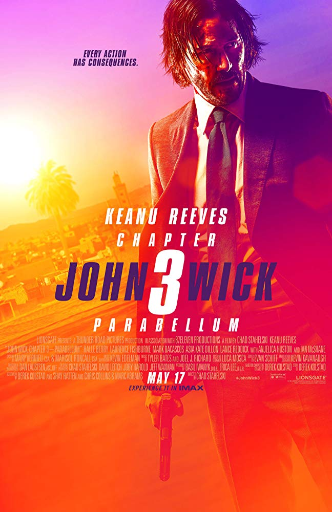 John Wick 3-Parabellum - by Kathia WoodsLately, the action genre has grown tiresome. Filled with stunts but amateur acting skills or plot line. After last year's disappointing Skyscraper we have the return of John Wick or in this case John Wick 3 - Parabellum. Keanu Reeves is back as the professional assassin, but this time he's the one hunted.I loved this movie. John Wick 3 is everything an action movie should be. We don't just want to see fights, but we want to experience the suspense and dare I say have decent acting. Keanu Reeves is everything we want and need in an action star. He's naturally handsome but intelligent, strong but calculating. I loved the fact that they included new ways to kill someone. Hint, hint a library is not just for reading anymore. Some of us have waited for Halle Berry to make some better choices when it comes to movie roles. She deserves better, and we deserve better from the Oscar Winner. In John Wick 3, we get that. Her turn as Sofia isn't only sexy but powerful. She very much holds her own in the scenes she shares with Reeves. Other favorites are Lance Reddick as Charon and Ian McShane as Winston.Who said that hitmen couldn't be elegant as well as calculating? Jonathan Eusebio designed outstanding choreography for the fight scenes, especially the ones that occur in the latter end of the movie. Honorable mention goes to Boban Marjanovic aka backup center for the Philadelphia 76ers. His screen time may be short but memorable. We must also give props to Luca Mosca for his costumes. I love how he dressed the women in this movie. Asia Kate Dillion as the Adjudicator wouldn't have come across as menacing if it wasn't for the wardrobe. The tailoring of Reddick and McShane also helped convey their characters. Many a time we focus on the director, stunt team when it comes to these types of movies overlooking costuming. Mosca choices helped carry the story and along with the set design of Letizia Santucci and David Schlesinger. John Wick 3 is not just an action film but a mood.John Wick 3 may be the last one, but I am open to seeing Berry's character Sofia along with those two K 9's get a spin-off. It may be May, but John Wick 3 has kicked off Summer Movies at least the Action Division.Scale: It gets an 8 for sheer fun.Diversity: It has a variety of people of color from Asian to Black. The women aren't just eye candy but are an integral part of the story. It receives an 8.5