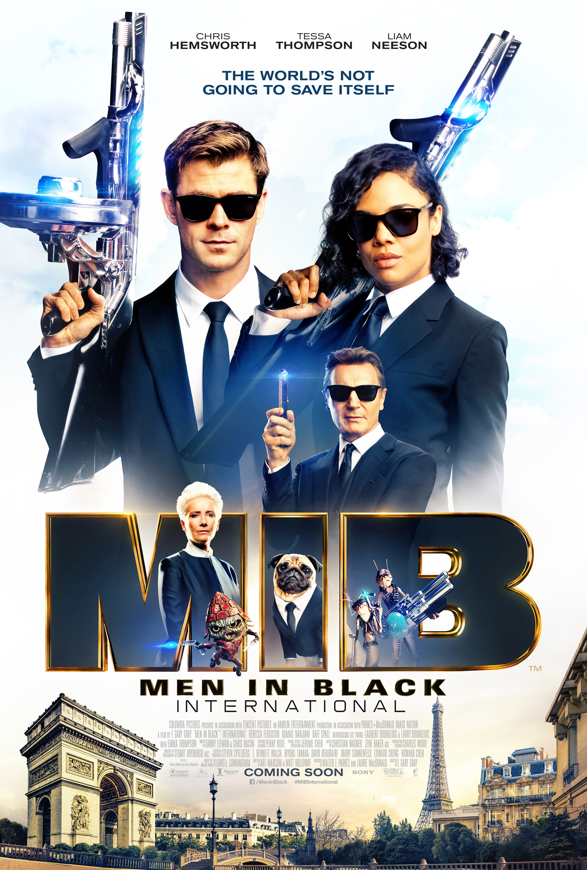 Men In Black -International - by Kathia WoodsMen In Black was initially introduced to us in 1997 starring the iconic Will Smith and Tommy Lee Jones. It's 2019, and we have a new dynamic duo, Tessa Thompson and Chris Hemsworth.Thompson is an alien conspiracy follower, and Hemsworth is the good-looking super-agent Agent H representing the international wing of the agency. His mentor Agent High T embodied by Liam Neeson is the man in charge.They are still chasing extra-terrestrials that threaten the sanctity of mother earth, but this time the threat is internal as well. The agency has a mole.There were high expectations for Men in Black International. Thompson is coming off the success of Creed 2 and Hemsworth of the juggernaut known as The Avengers. They first worked together in the hit Thor- Ragnarok so one would think that they would strike magic again. Sadly No.The issue with this movie is that the plot is all over the place. We have two great actors with great comedic timing that were given this common theme. The film opens with a daring mission in Paris and then pivots to Agent M childhood. Young Molly embodied by Mandeiya Flory first sees the Men In Black twenty years ago during her first contact with an alien, since then she's been obsessed with joining the agency. Back in the future, she finally locates the elusive group and is given a chance to prove herself by Agent O played by the charming Emma Thompson. The interaction between Thompson and Thompson were one of the better parts of the movie. The joy of finally getting fitted for that black jacket meant everything to Molly.Unfortunately, the movie doesn't continue this euphoric ride. Men In Black International has an opportunity to create great comedic moments just like its predecessor however the script never takes advantage of the enthusiastic spirit of Agent M and the boisterous self-indulgent Agent H. The jokes are flat and predictable. One minute we're looking for a killer, then a mole inserted with agent H enemies coming back to haunt him. It's dizzying just typing all the events; hence, the audience never connects to these characters. Kumail Nanjiani was added as Pawny to bring additional comedic relief, but even he can't save this film. I was delighted to see dance icons Les Twins make their screen debut, but they too deserved better.So let's review you have Tessa Thompson, Chris Hemsworth, Emma Thompson, Kumail Nanjiani and Liam Neeson yet Men In Black International still is dismal. The blame for that are screenwriters Matt Holloway and Art Marcum. They never managed to understand who these characters are instead built a script on cheap jokes sprinkled in with fake feminism. F. Gary Gray attempted despite the above to cut and piece together a fun ride, but it's hard when the foundation is shaky. This is one time where special effect and star power doesn't translate into a winner.If you want to see a better connection between Thompson and Hemsworth watch Thor Ragnarok. Men In Black International was an idea that needed to stay on paper.Diversity: This movie gets a 5 for Tessa Thompson and Emma Thompson. Kumail Nanjiani was also cast, but he plays a pawn.Scale: This movie receives a 5 for messiness.