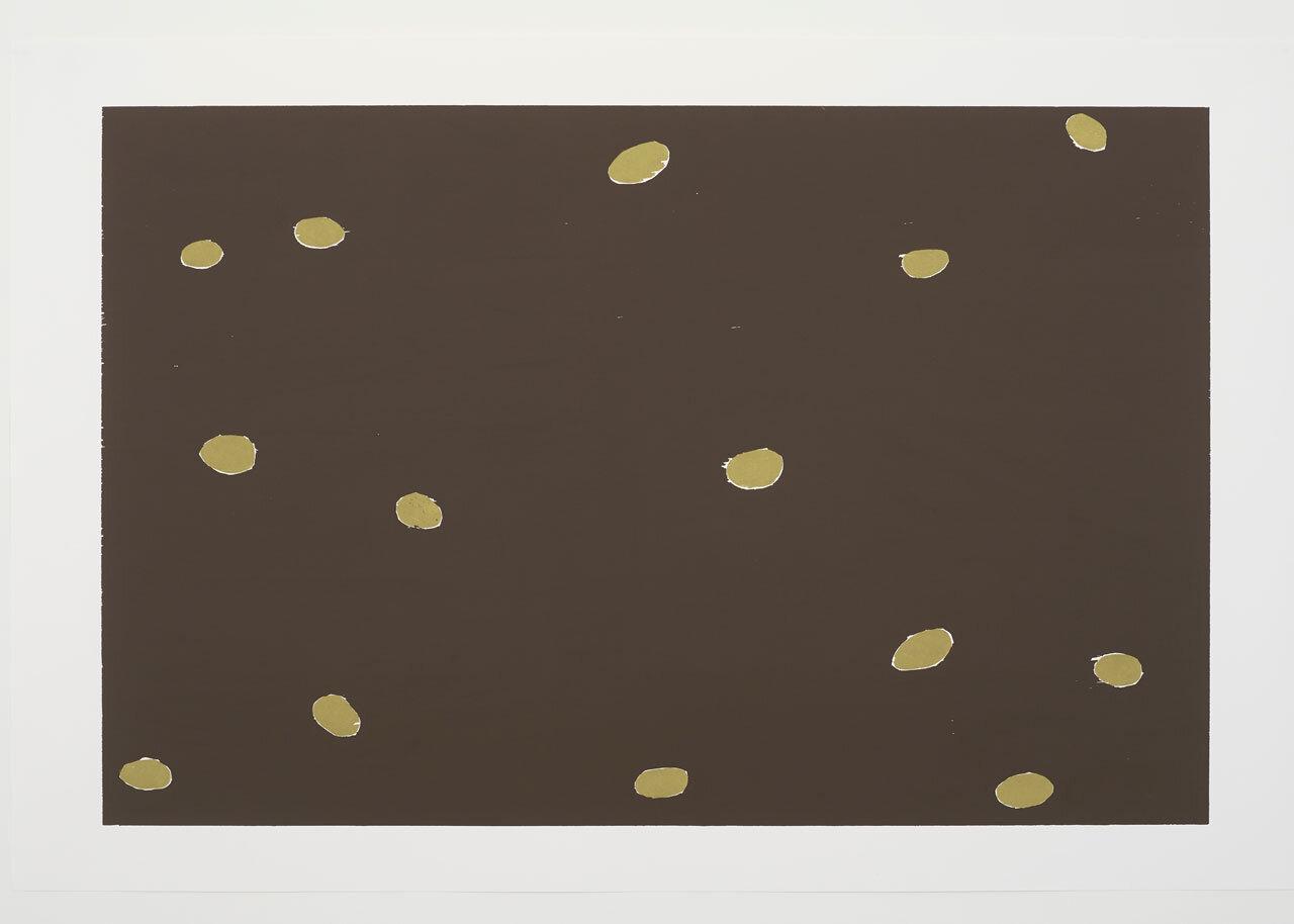 Potatoes,      2017 Woodcut, 130 x 198 cm Photo: Andy Keate. © Andrea Büttner / VG Bild-Kunst, Bonn 2019. Courtesy Hollybush Gardens, London.