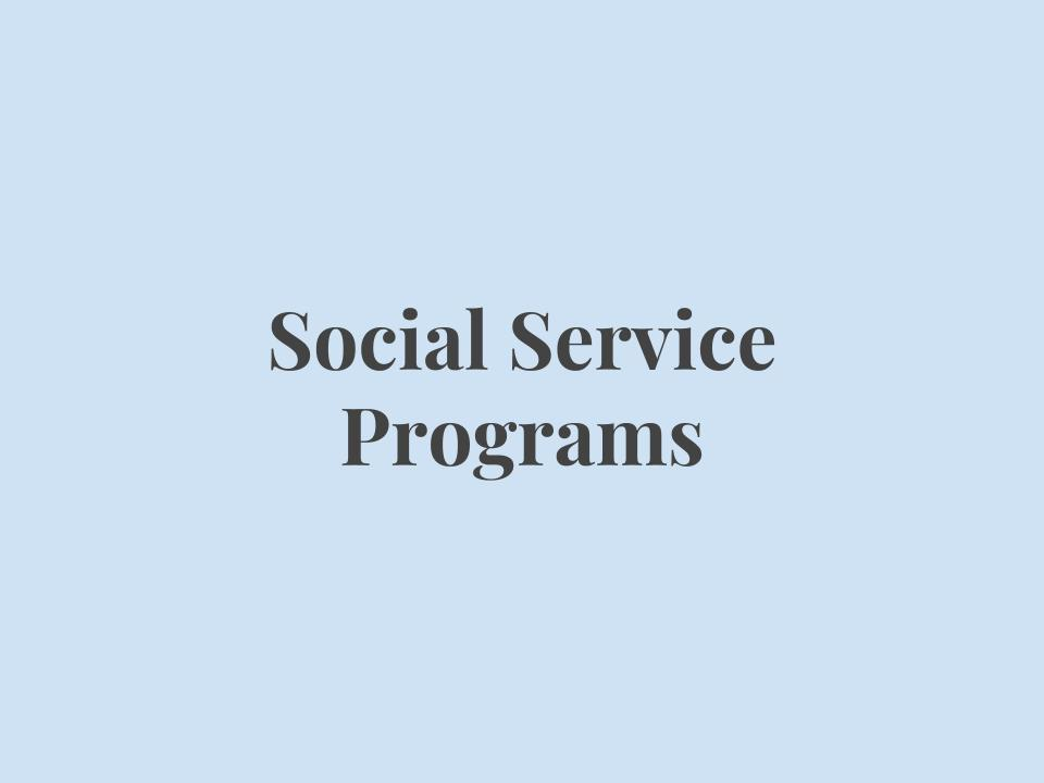 Programs that provide assistance for Medicaid and food stamp qualifications, as well as utilizing government services such as the Grady card and Obamacare.