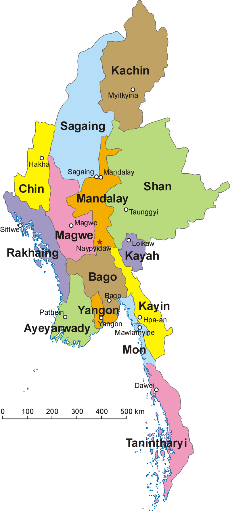 Map of Burma (Myanmar)