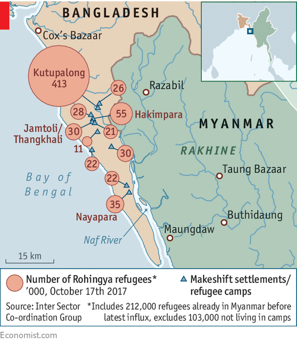 Map of Internal Refugee Camps in Rakhine
