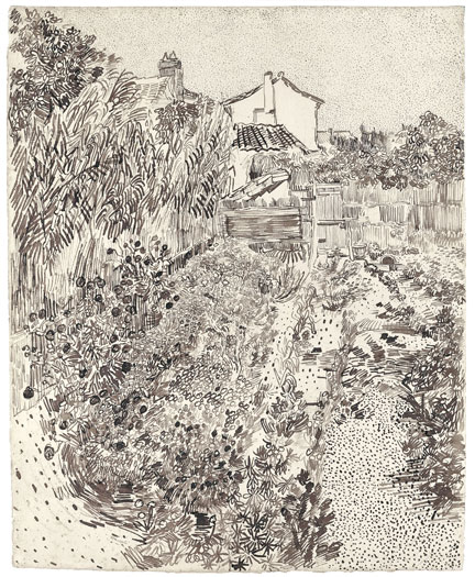 "Vincent van Gogh, Cottage Garden, 1888. Reed pen, quill, and ink over graphite on wove paper, 24 x 19 ¼"".     [1]"