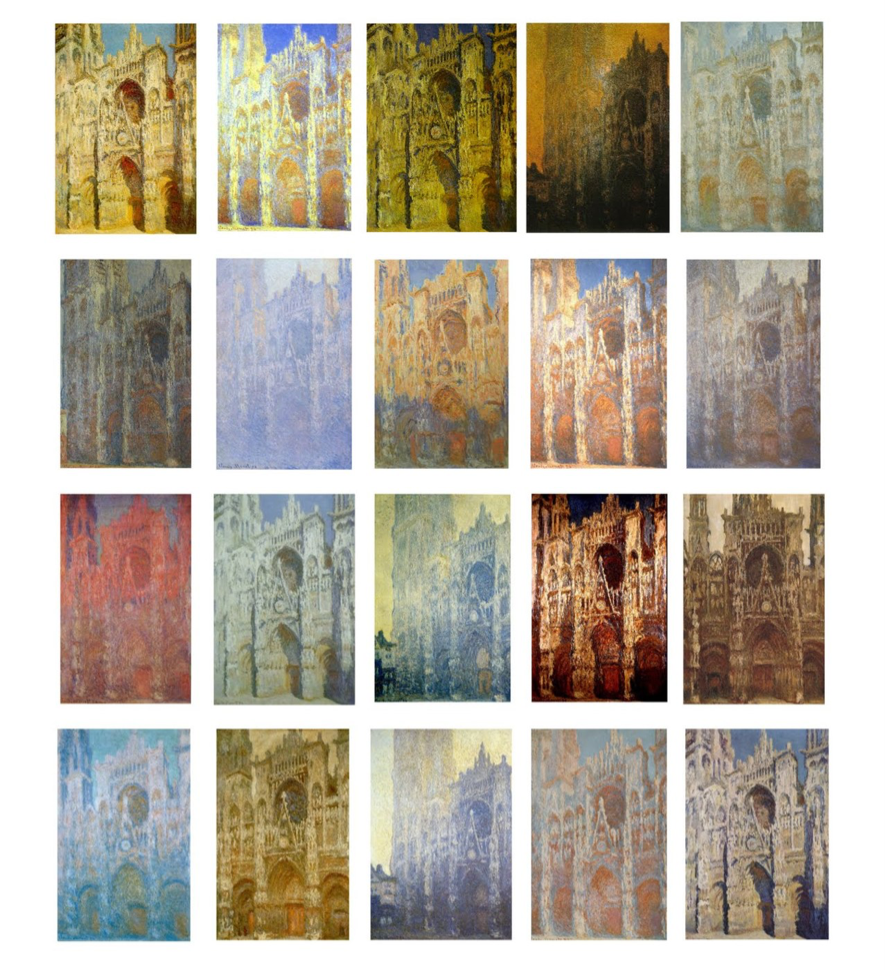 Composite of Claude Monet's paintings of the cathedral in Rouen, 1892 – 1894.     [3]