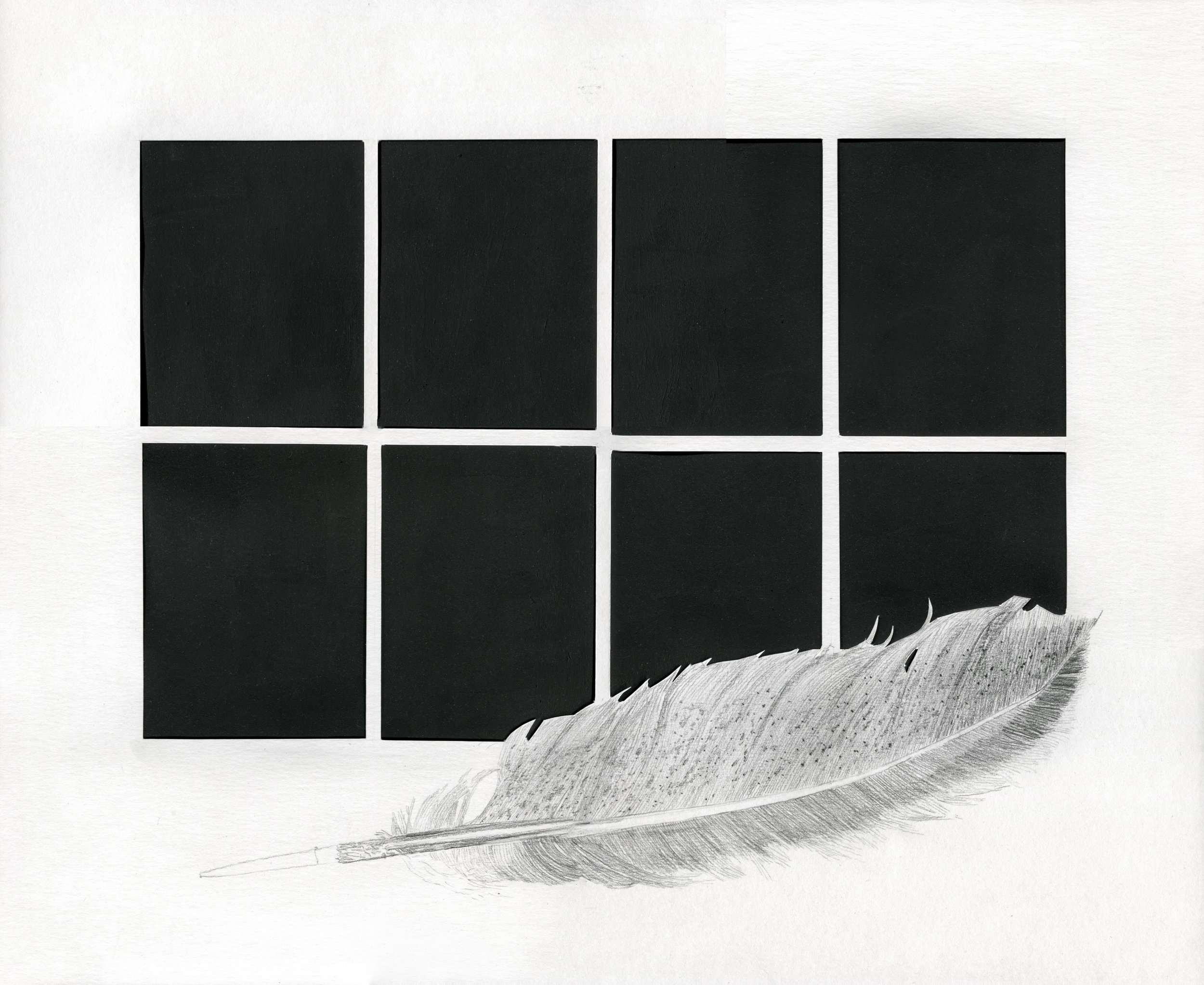 """Small Things Praying for You at Midnight (Feather)""  Clara McClenon. Charcoal and black gesso on cut paper. 17"" x 14"", 2018."