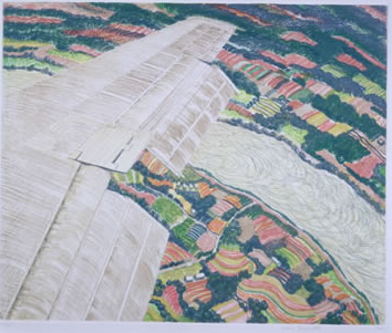 Winging It, Spring. 1990  Yvonne Jacquette Etching printed in pale yellow, blue‑green, tan,  light red and yellow‑green  on white wove paper Sheet: 25 3/8 x 25 1/8 in.; image: 15 7/8 x 19 inches