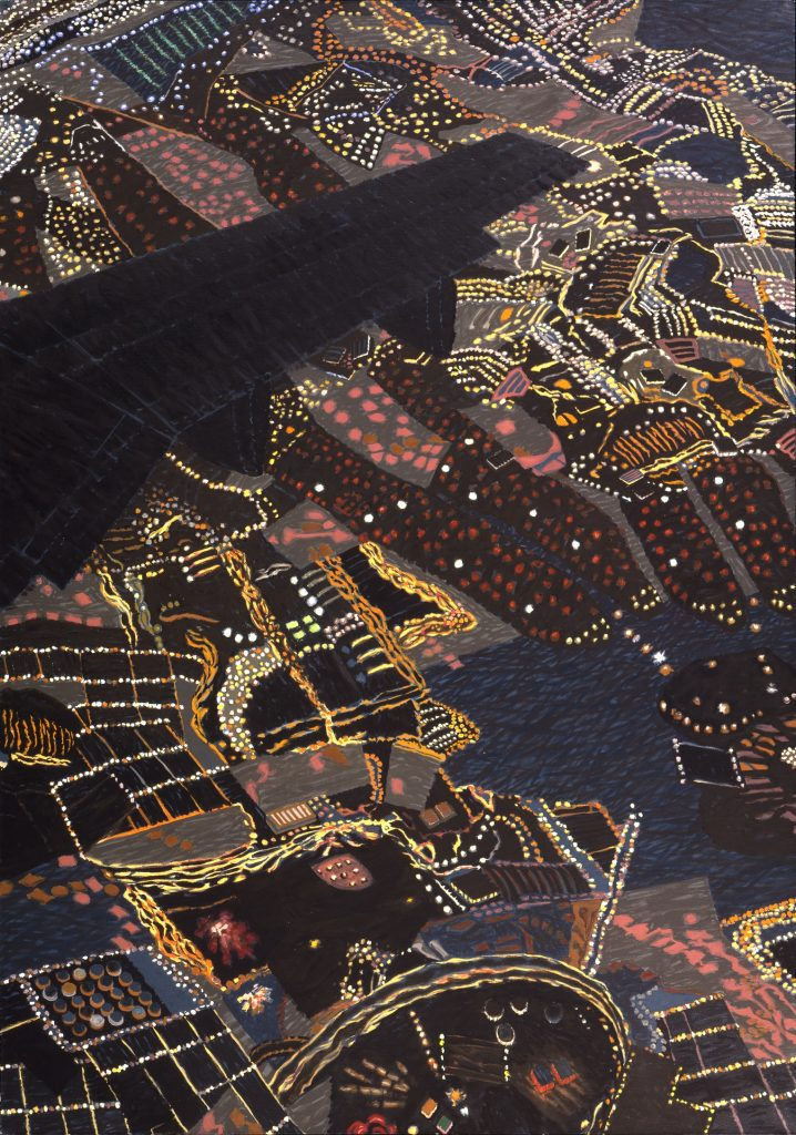 Night Wing: Metropolitan Area Composite II  Yvonne Jacquette  Painting  1993, 80 5/8 x 56 3/4 in.