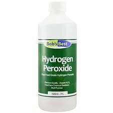 Hydrogen Peroxide(3%) - It is a natural bleach substitute, removes stains, and disinfects.