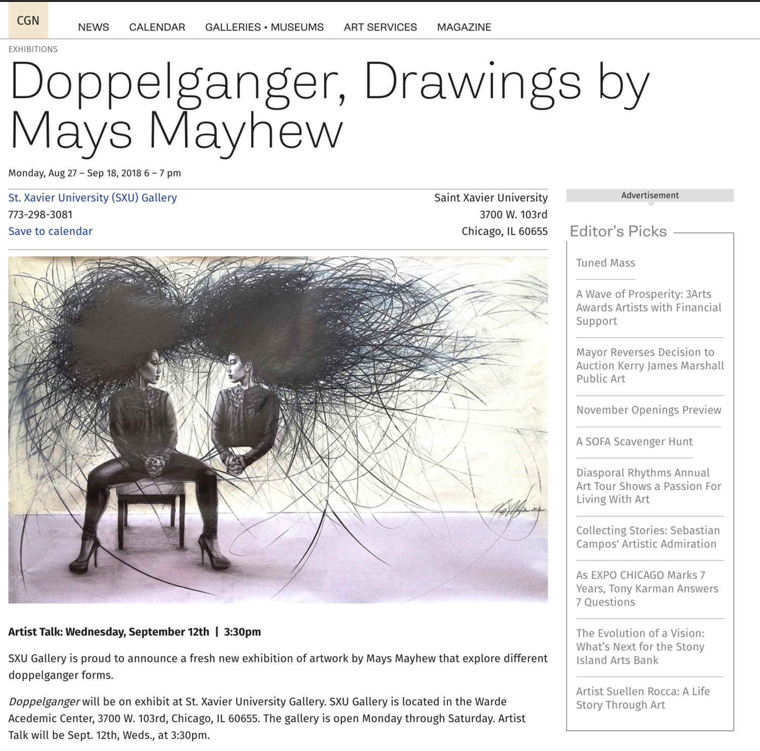 St. Xavier University Gallery Hosts Mays Mayhew Solo Show