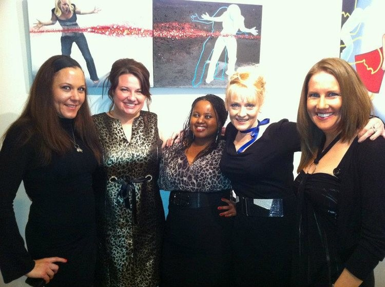 Mays Mayhew with friends at Solo Show Morpo Gallery Chicago IL.jpg