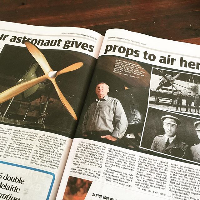 Fantastic coverage in today's Sunday Mail newspaper in #Adelaide on Andy Thomas and the importance of honouring the Smith crew and their Vickers Vimy.