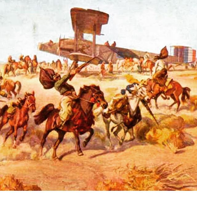 Check out this amazing painting of Arab tribes circling a giant Handley Page bomber in the Middle East towards the end of #WWI. Only one man was entrusted to fly the 100ft aircraft - SA's Ross Smith from the Australian Flying Corps, who later led the first flight from England to Australia.