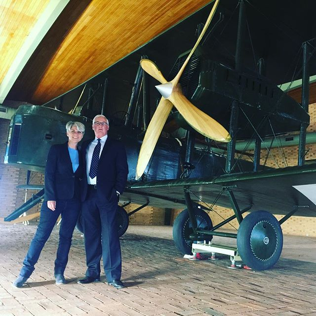 Nova Systems founder and SA Chief Entrepreneur Jim Whalley and I down with the Vickers Vimy at @adelaideairport urging govt support to move the plane to a more prominent location.