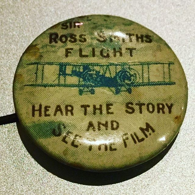 Gorgeous 1920 vintage pin promoting Ross Smith's 'moving picture' tour after he won the 1919 Air Race from #England to #Australia. Thanks to @steveofclare for sharing.