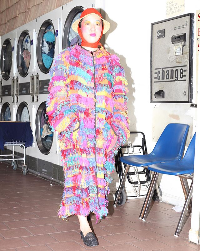 Ashley Ji Hye in 'Muslin Mink'. A very vibrant 1970's fruit loop rainbow all cotton rag jacket (coined 'muslin mink'), which will be a perfect seasonal transition piece.