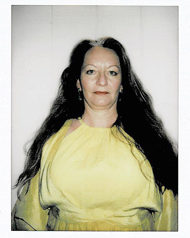 Hand-dyed chartreuse obtained with an all natural blend of matcha, chlorophyll, turmeric and merlot. Here is a Polaroid of Tanya Ortega, Matron of the Arts and founder of the @nationalparksarts in a custom Nong Rak original raw silk and silk organza frock and cinch neck muslin slip.